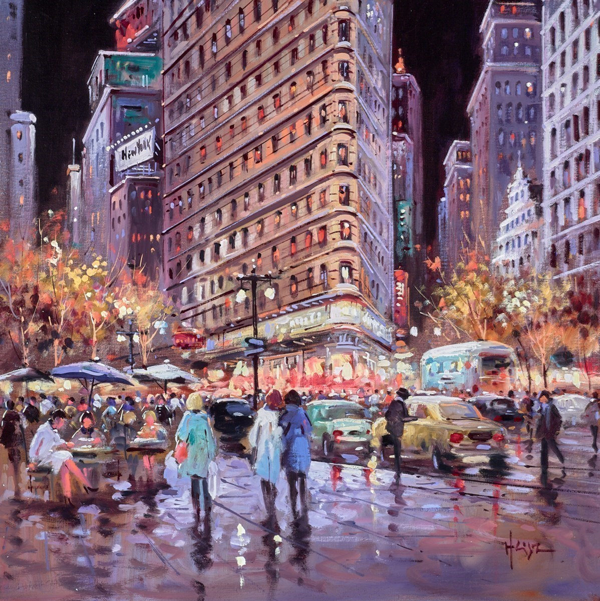 Nighttime, New York by Henderson Cisz -  sized 20x20 inches. Available from Whitewall Galleries